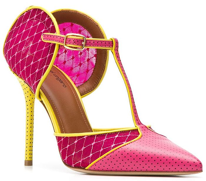 Malone Souliers 'Imogen' Leather-and-Fishnet Pumps in Fuchsia and Yellow