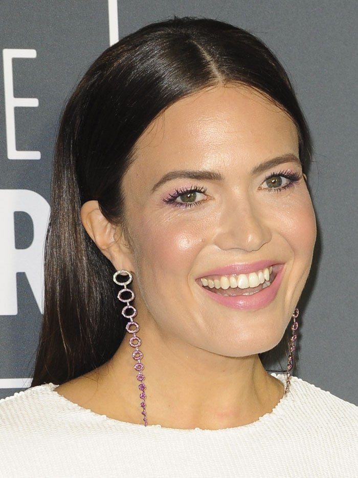 Mandy Moore wearing Emmanuel Tarpin pink-ombré diamond oval earrings