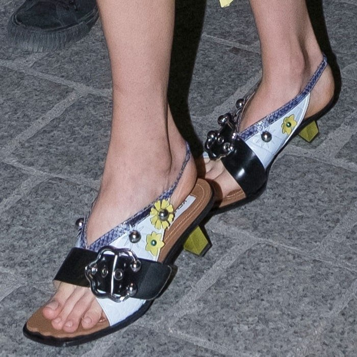 Margaret Qualley's sexy feet and long toes in ugly Fendi sandals