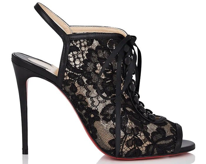 Black Mariee A Colmar Lace & Leather Sandals