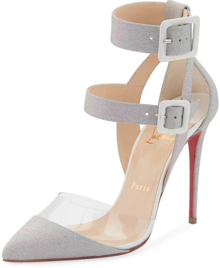 A soft rainbow hue is enhanced by a glitter finish on these strappy pointy-toe stilettos
