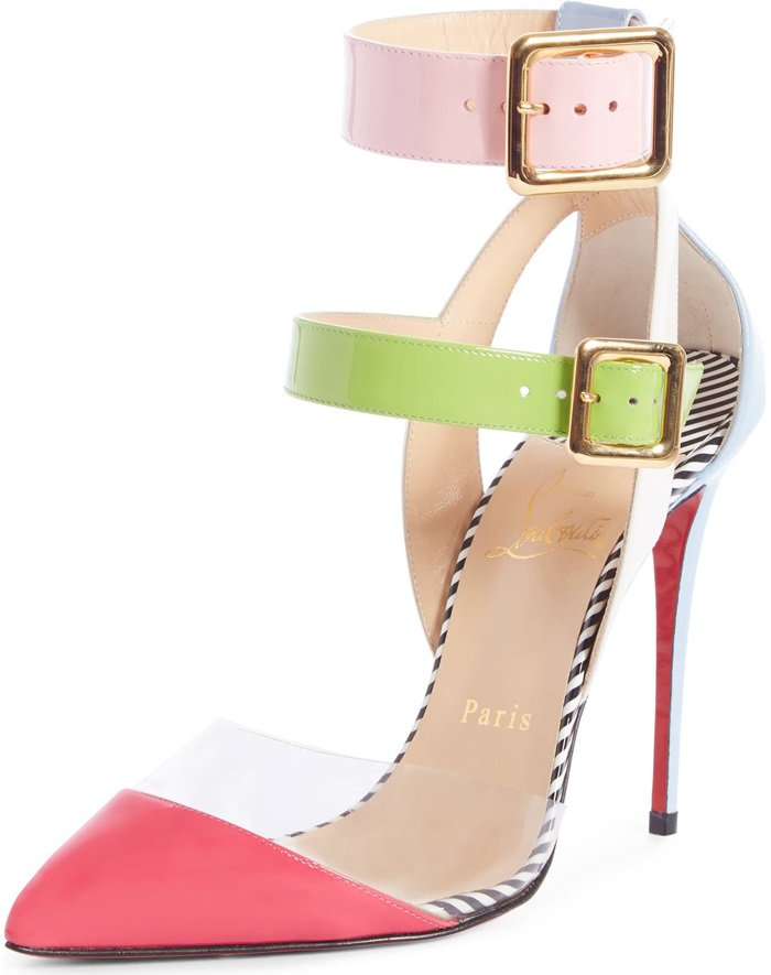 Squared-off, covered buckles secure the slender, tiered straps of a pretty pump distinguished with a transparent inset just above the pointed toe