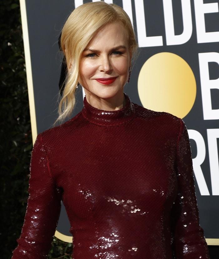 Nicole Kidman'sburgundy sequined Michael Kors Collection dress
