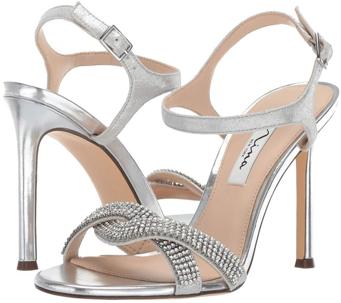 Davia Crystal Ankle Strap Sandals