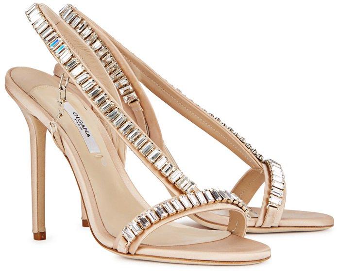 Olgana Paris Bella jewel-embellished champagne sandals