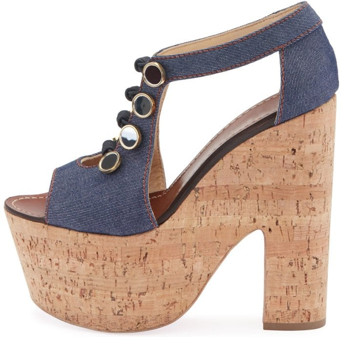 Christian Louboutin Ordonanette sandal in cotton denim, embellished with buttons and toggles on front
