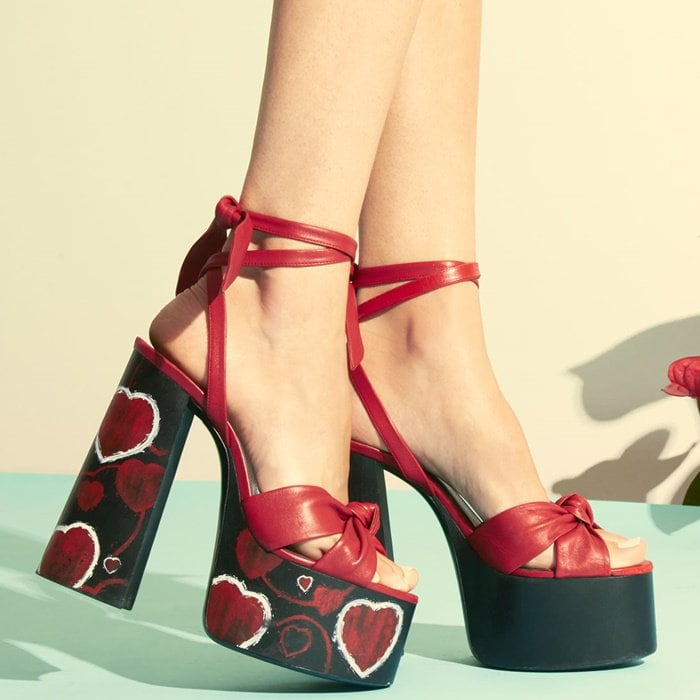 94e4ef1e594 Paige Heart-Print Platform Leather Sandals by Saint Laurent