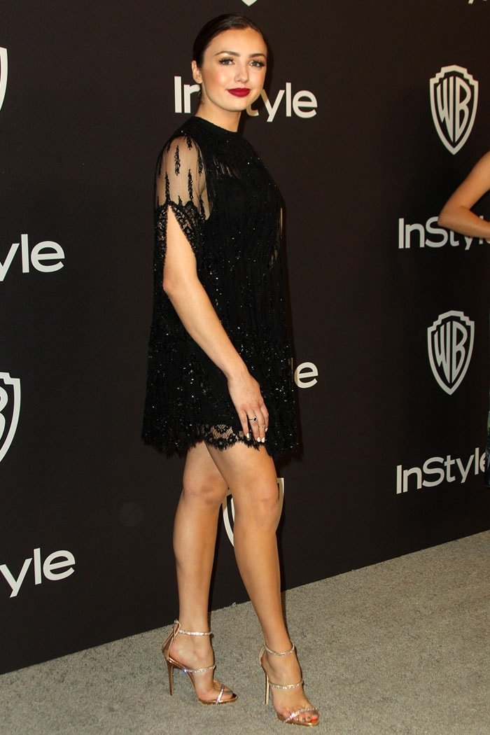 Peyton List in Giuseppe Zanotti 'Harmony Sparkle' sandals at theInStyle Warner Bros Golden Globe After Party 2019