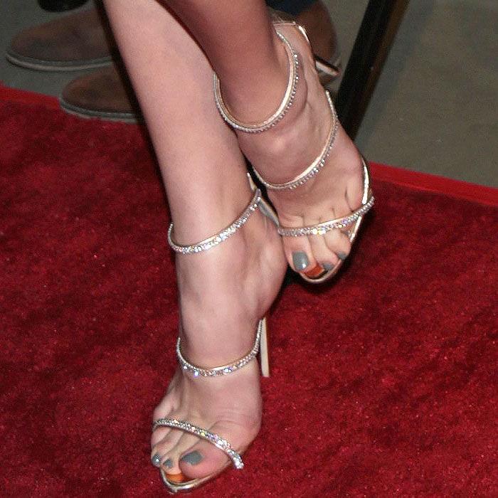 Peyton List's feet in Giuseppe Zanotti 'Harmony Sparkle' sandals