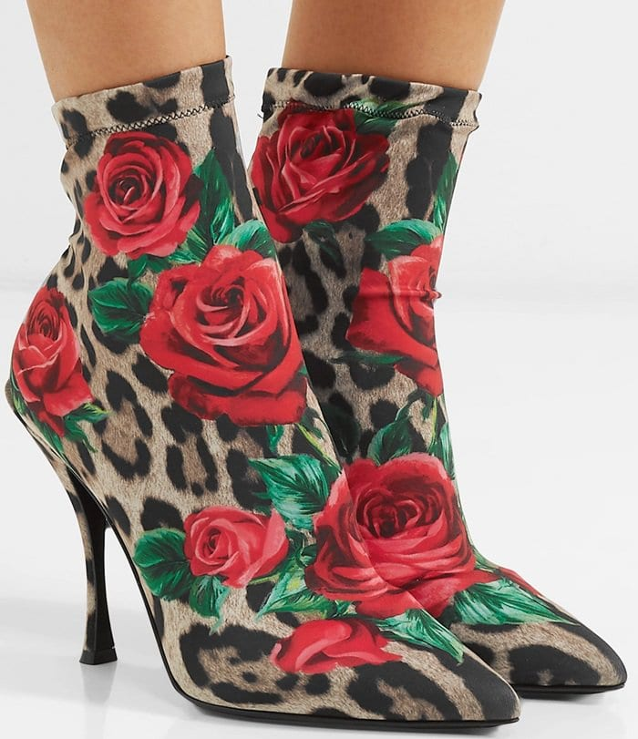 Printed Stretch-Jersey Sock Boots