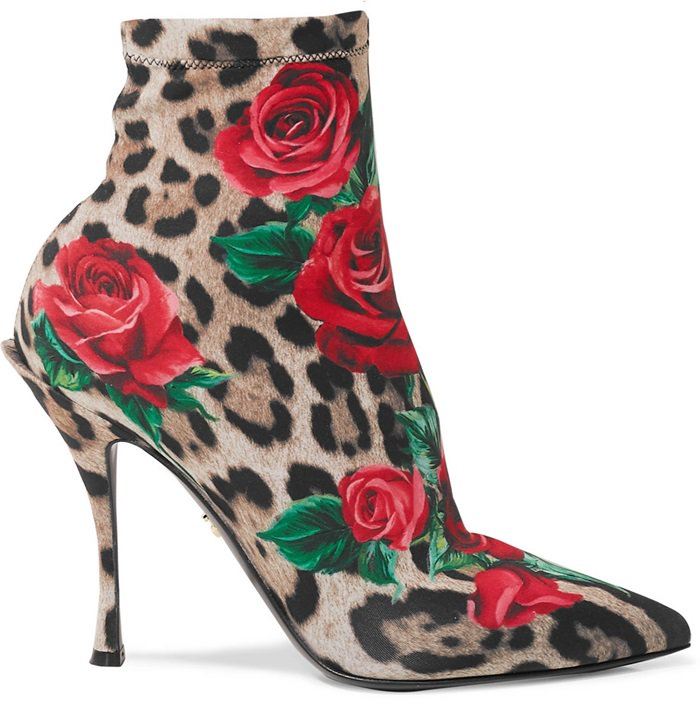 Printed with bold leopard spots and red roses, this statement pair has been made in Italy from stretch-jersey with a fine gauge so they won't slip down