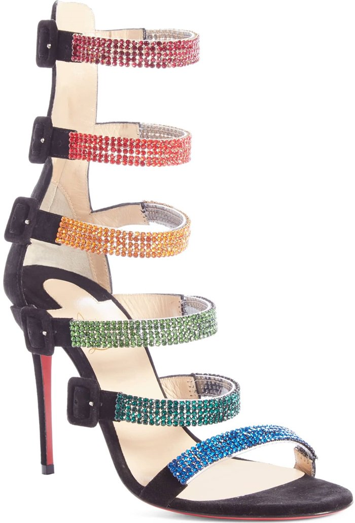 Christian Louboutin's Raynibo sandals are crafted in Italy of black supple suede and clear PVC