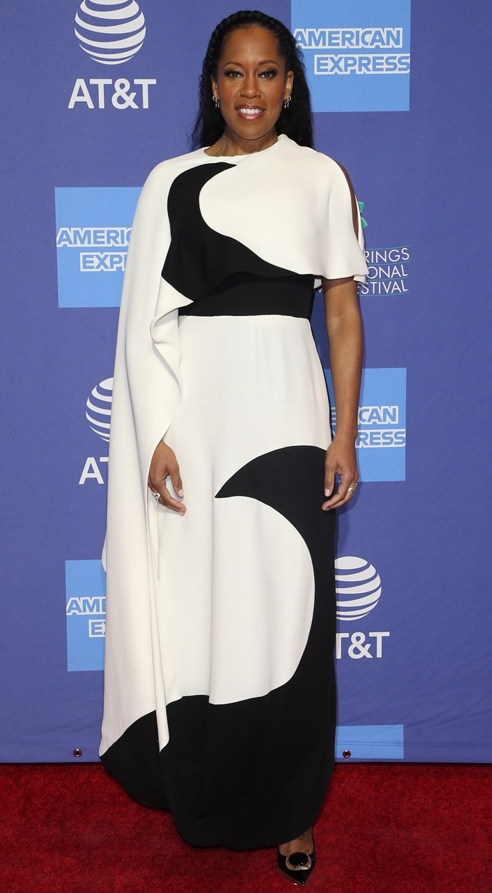 Regina King styled her draped panel Valentino dress with Moon pumps by Christian Louboutin