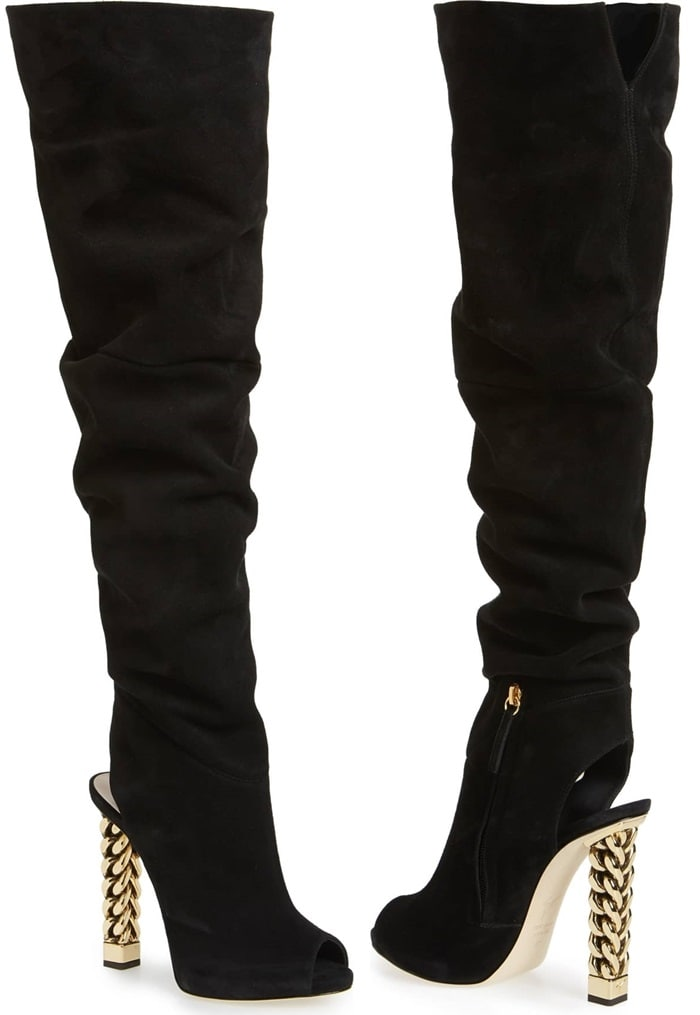 This slouchy over-the-knee boot makes a glam statement with a golden curb-chain heel