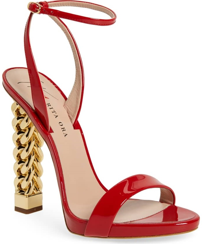 This red patent sandal makes a glam statement with a golden curb-chain heel