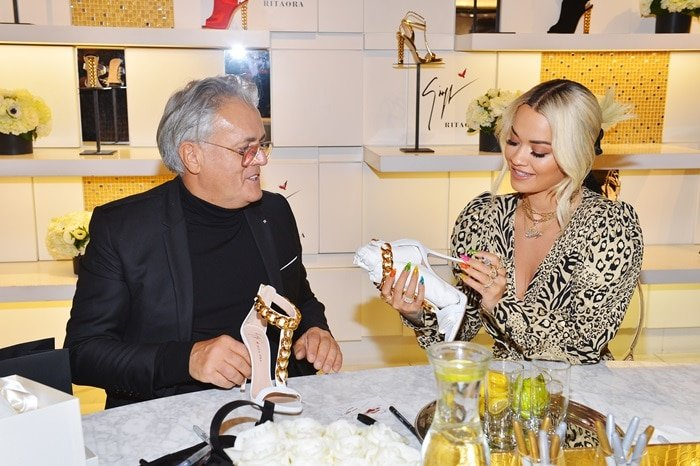 Giuseppe Zanotti and Rita Ora the launch of their footwear collection at Saks Fifth Avenue Beverly Hills on January 24, 2019