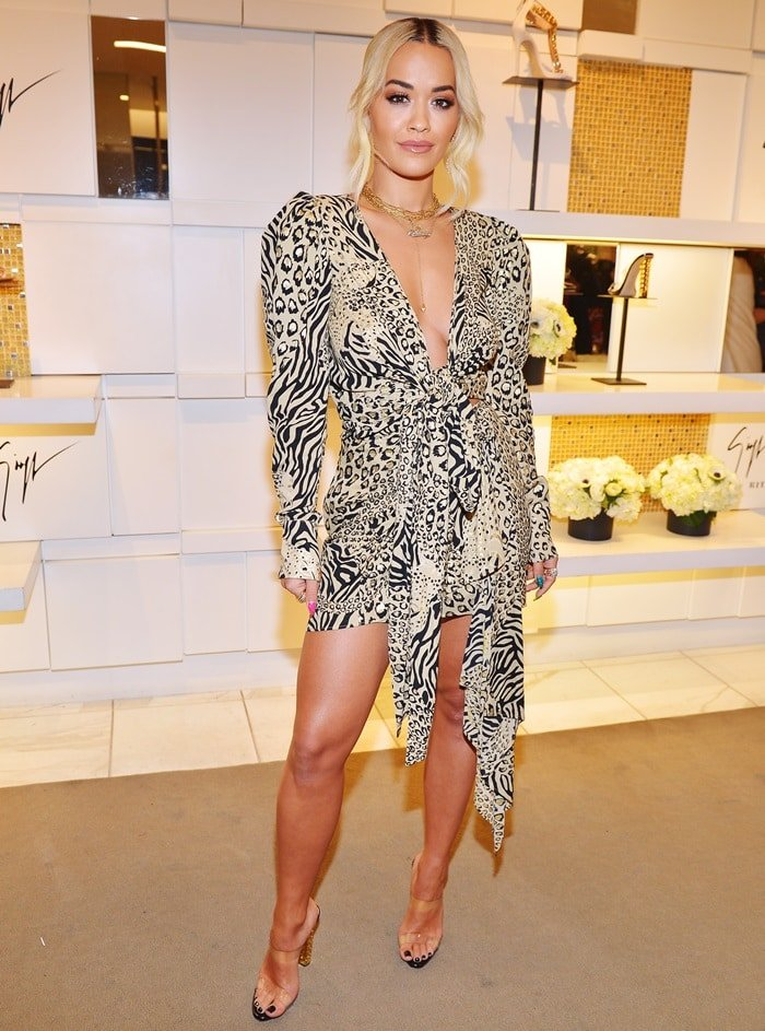Rita Ora paraded her sexy legs at the launch of her shoe collaboration with Giuseppe Zanotti