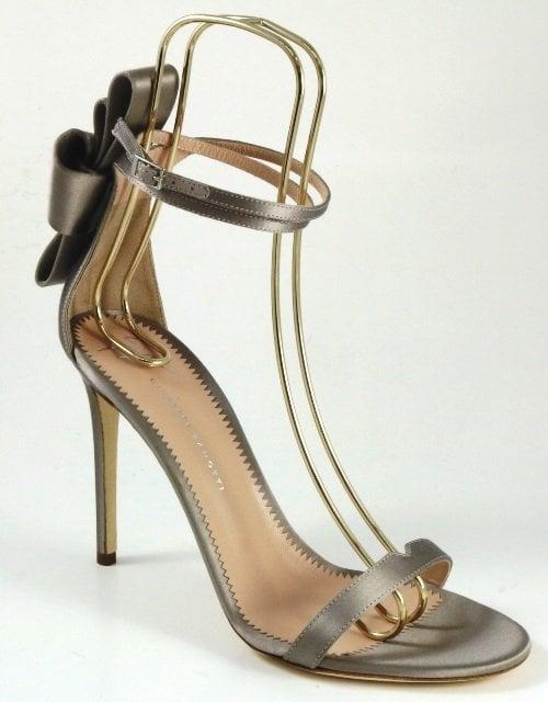 Grey Satin Alina Bow Sandals