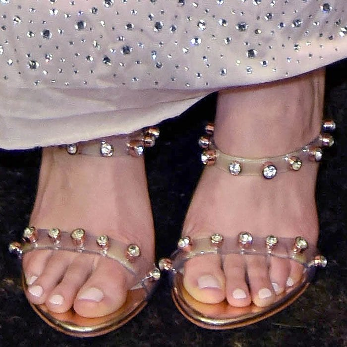 Saoirse Ronan's feet in Sophia Webster 'Rosalind' crystal-studded PVC-strap sandals