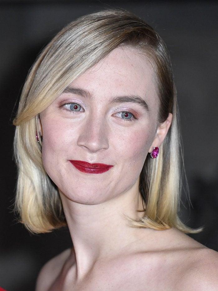 Saoirse Ronan re-wearing her Anabela Chan pink-stone earrings