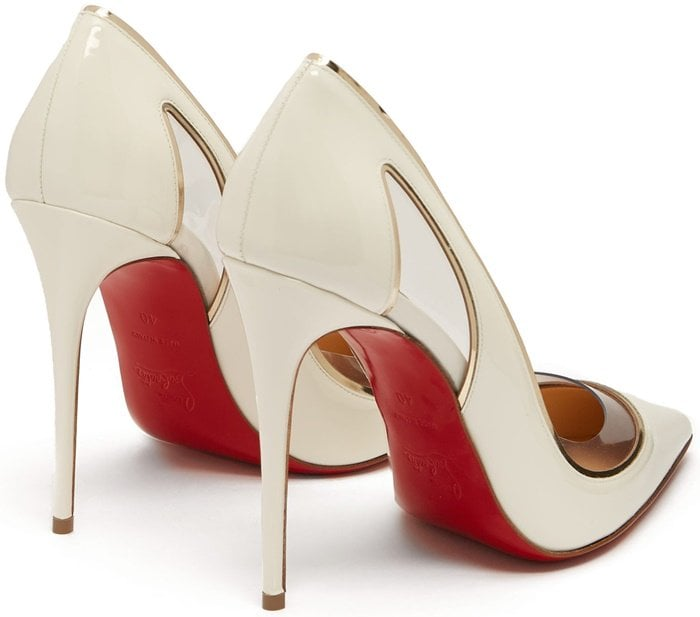 Christian Louboutin taps into the perspex trend in typically elegant fashion, as seen in these white pumps