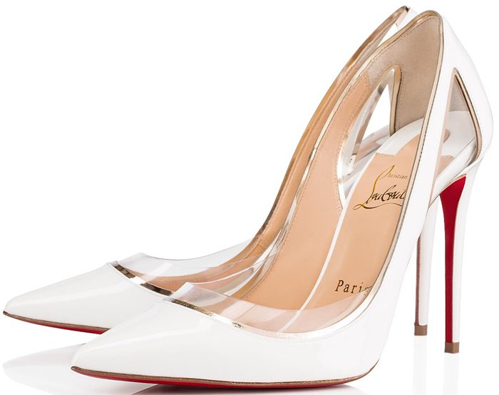 Built on Décolleté 554, this elegant pointy-toe snow-colored patent leather pump dares to push its vamp even deeper thanks to the use of transparent PVC producing a brillant optical illusion