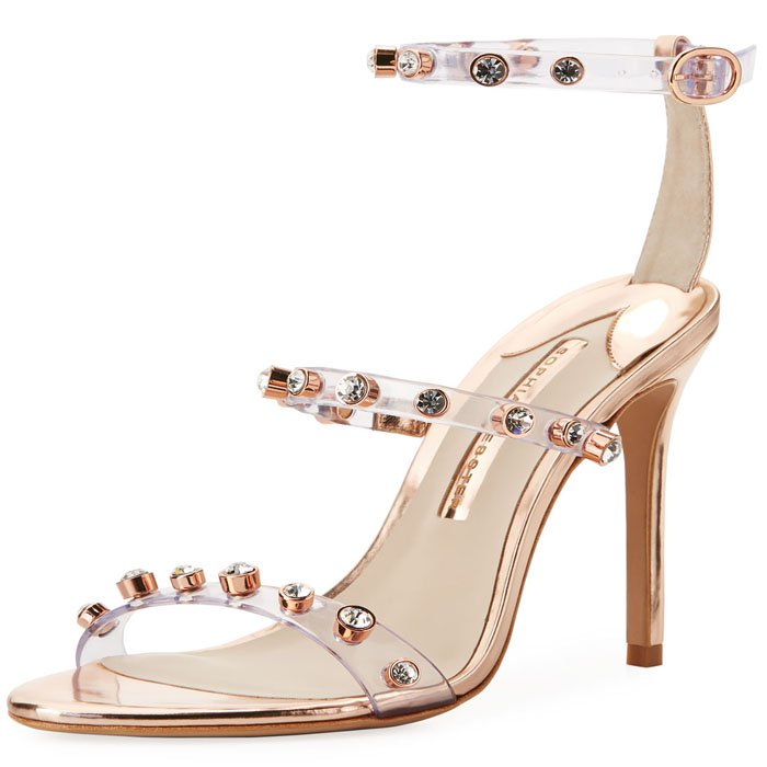Sophia Webster 'Rosalind' Crystal-Studded PVC-and-Metallic-Leather Sandals in Rose Gold