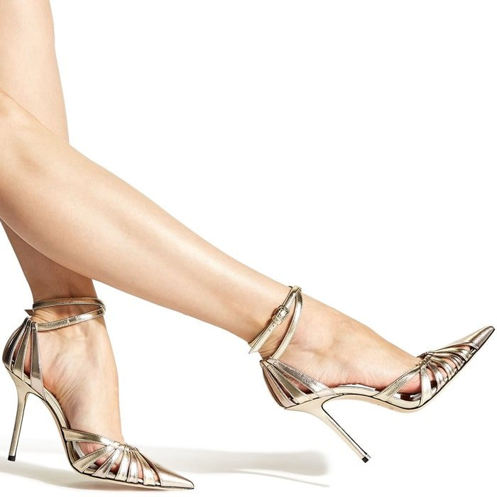 Travis 100 in gold mix metallic nappa is an architecturally powerful pump that semi encloses the toe and heel for a striking effect