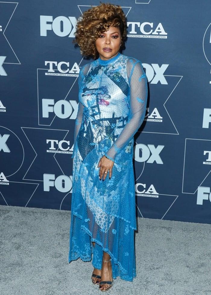 Taraji P. Henson wore a blue Preen by Thornton Bregazzi Spring 2020 ensemble at the FOX Winter TCA All-Star Party