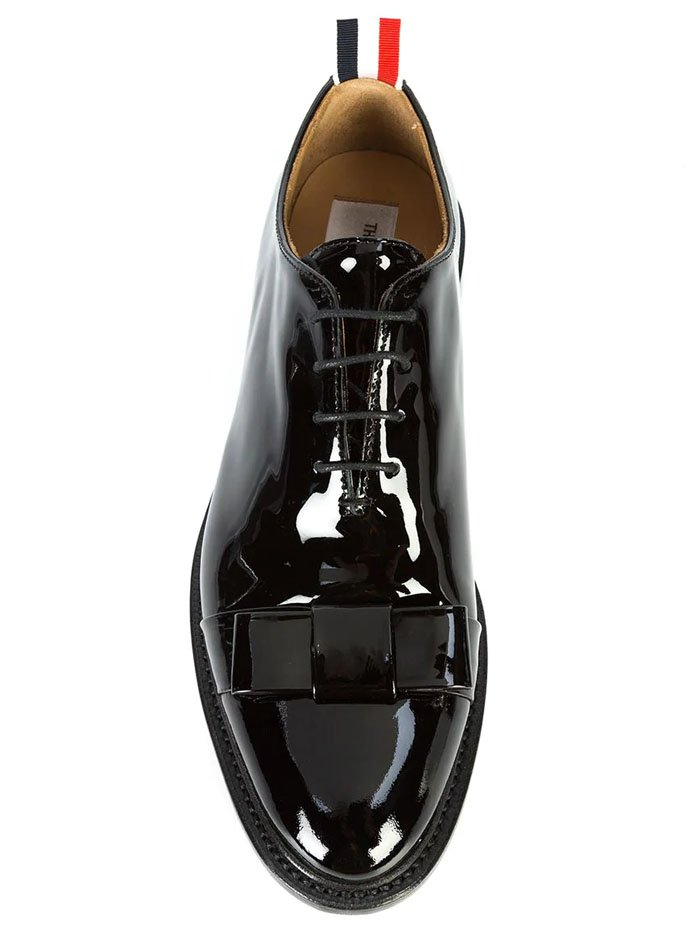 Thom Browne Bow Oxford Shoes in Patent Leather
