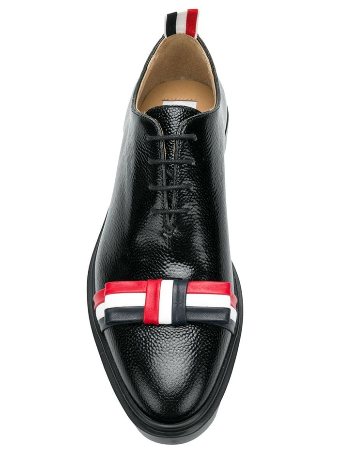 Thom Browne Bow Oxford Shoes in Pebble Grain Leather