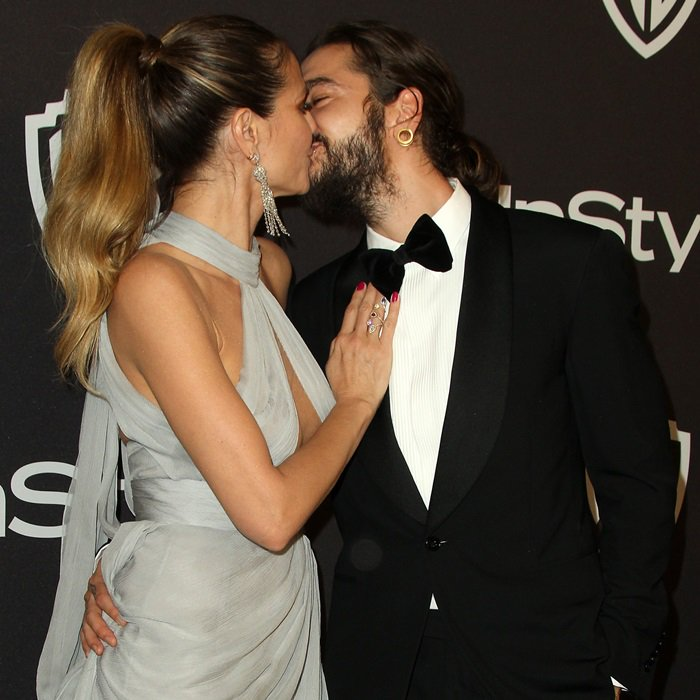 Heidi Klum kissing her new boy toy atthe InStyle And Warner Bros. Golden Globes After Party held at The Beverly Hilton Hotel in Beverly Hills, California, on January 6, 2019