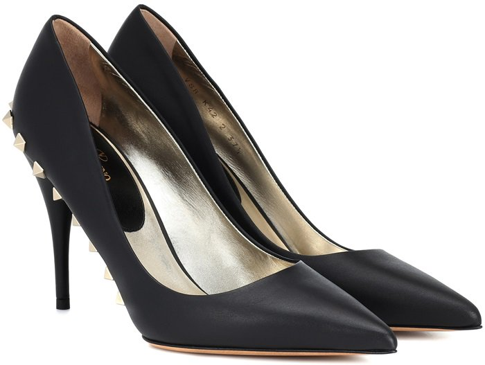 This sleek style has been crafted in Italy from polished black leather and is set on a slender 100mm heel