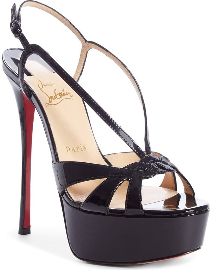 These towering stiletto platforms are finished with a braided front strap for a mesmerizing effect
