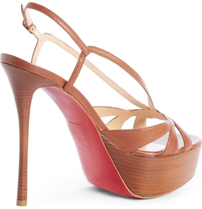BrownVeracite 130mm Platform Red Sole Slingback Sandals