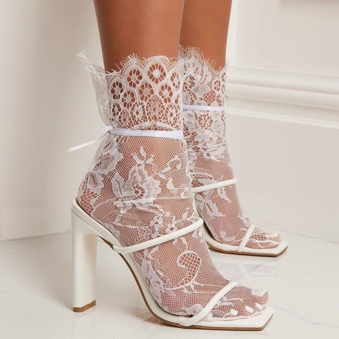 White Highland Sandals and Floral Socks