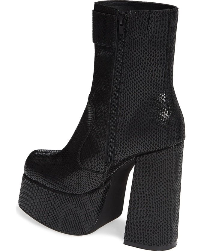 Add an extreme '70s-inspired lift to your look with this showstopping boot set on a sky-high platform and heel