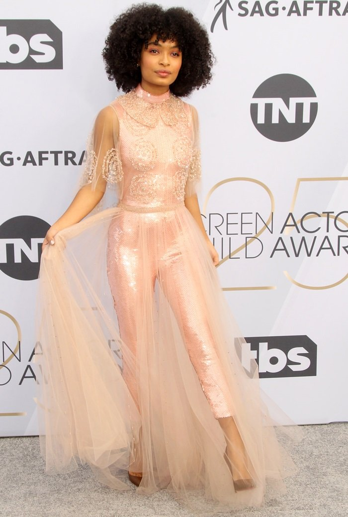 Yara Shahidi styled her blush pink sequin beaded tulle dress with So Kate pumps