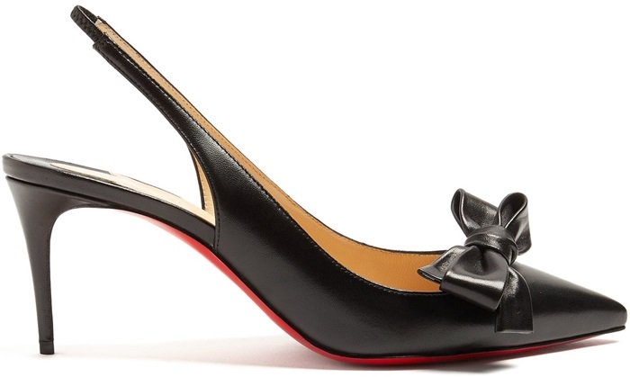 This Italian-crafted pair is adorned with a complementing bow at the pointed toe, and detailed with a slender slingback strap before being set on a manageable stiletto heel