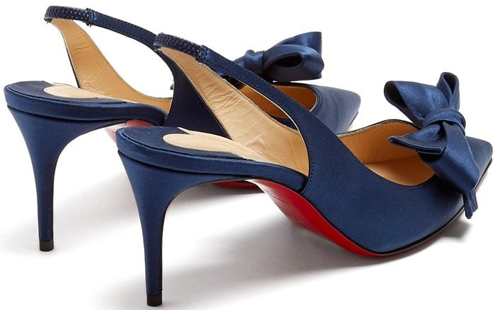 These navy satin pumps are a refined version of the slingback style which is forecast as a key trend for the season ahead