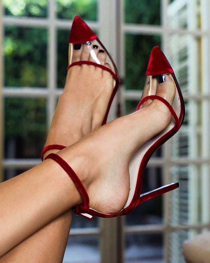 Crafted of red plush velvet and clear PVC, Alevì Milano's Bianca ankle-strap pumps are styled with a pointed cap toe