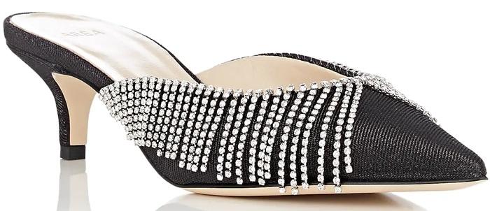 AREA Crystal-Embellished Lame Mules