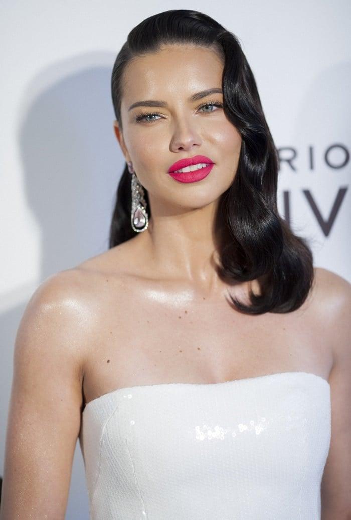 Adriana Lima's strapless white dress by Alex Perry