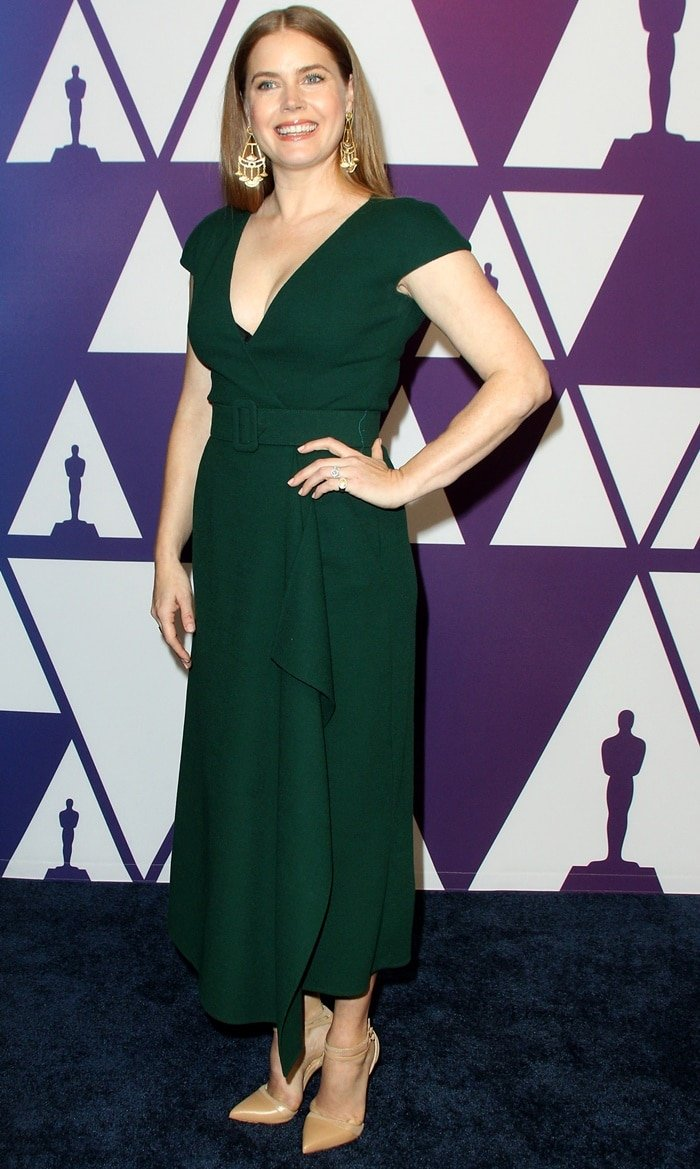 Amy Adams in a forest-green Oscar de la Renta dress at the 2019 Oscar Nominees Luncheon at the Beverly Hilton Hotel in Beverly Hills, California, on February 4, 2019