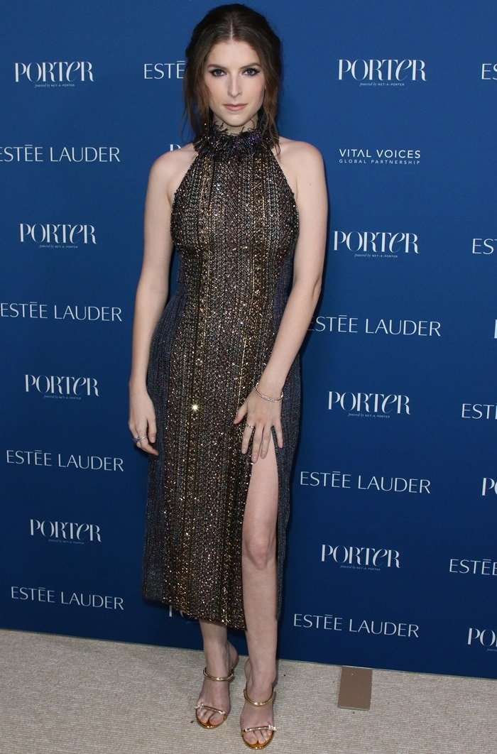 Leggy Anna Kendrick in an iridescent cocktail dress at the Porter Incredible Women Gala