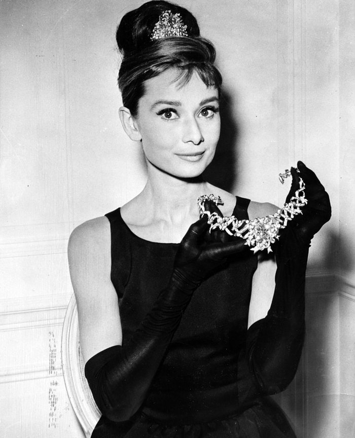 The diamond was at the center of a Jean Schlumberger diamond ribbon necklace for some promotional shots for Breakfast at Tiffany's