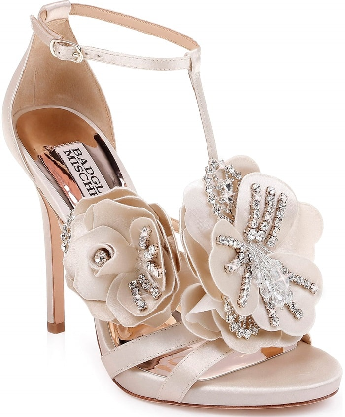 d539579f41b9 Two-Tone Satin Sandals With Crystal-Embellished Flower Appliqués