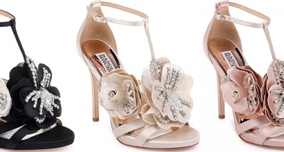 8e6f2638768 Two-Tone Satin Sandals With Crystal-Embellished Flower Appliqués