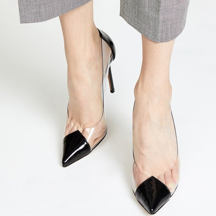 High-heeled pumps with clear, vinyl panels and neutral details for a chic take on the transparent trend