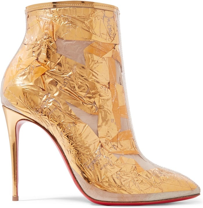 Christian Louboutin takes a tongue-in-cheek view of his own glamorous codes with these gold Booty Cap ankle boots featuring transparent PVC layered over logo-print creased foil